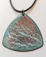 Maroon red and pale blue crackled necklace