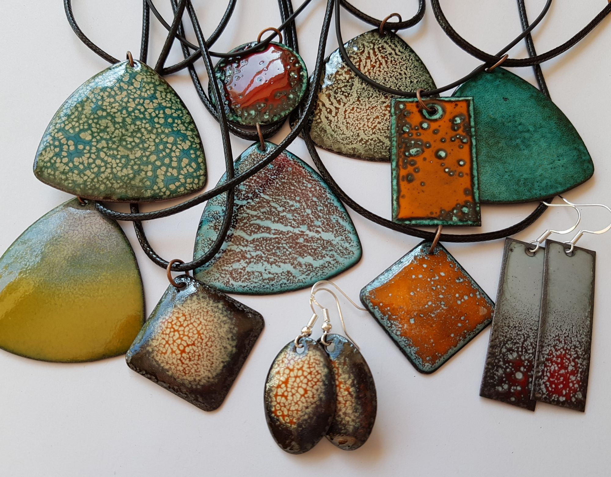 Textured interesting enamelled copper jewellery
