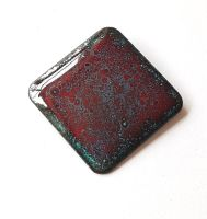 Maroon red with turquoise speckles brooch