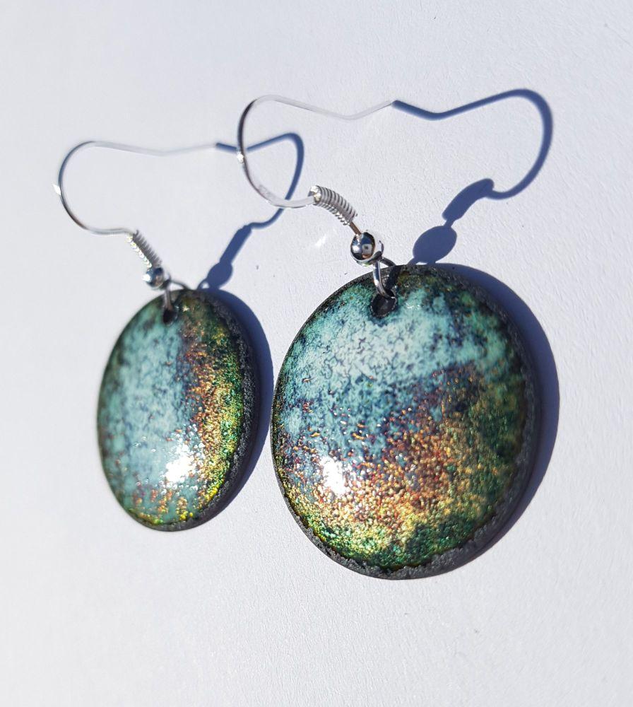 Metallic lustre speckled earrings