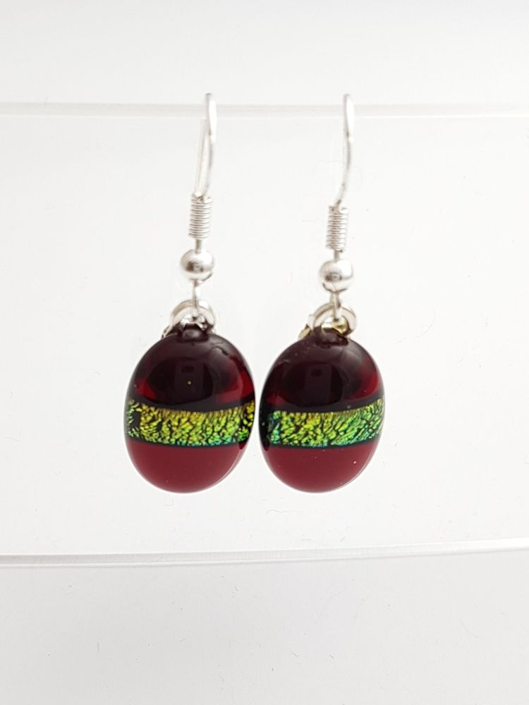 Dichroic stripe - Garnet red with gold sparkly stripe drop earrings