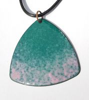 Pink blending into teal and jade patterned necklace