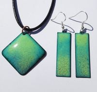 Lime and pale blue speckled earrings and pendant set