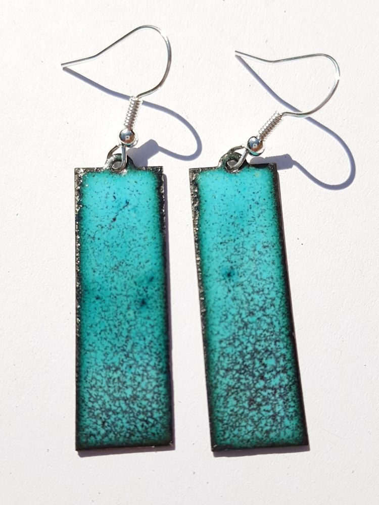 Turquoise blue with maroon speckles earrings