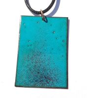 Teal blue with maroon red speckles necklace