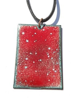 Poppy red and pale blue speckles necklace