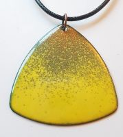 Ochre yellow, grey and orange speckle necklace