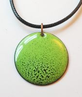 Lime green with black speckles necklace