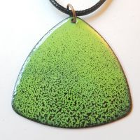 Lime green with deep maroon red speckles necklace
