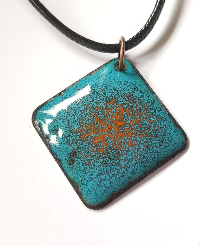 Teal blue with bright orange speckle necklace