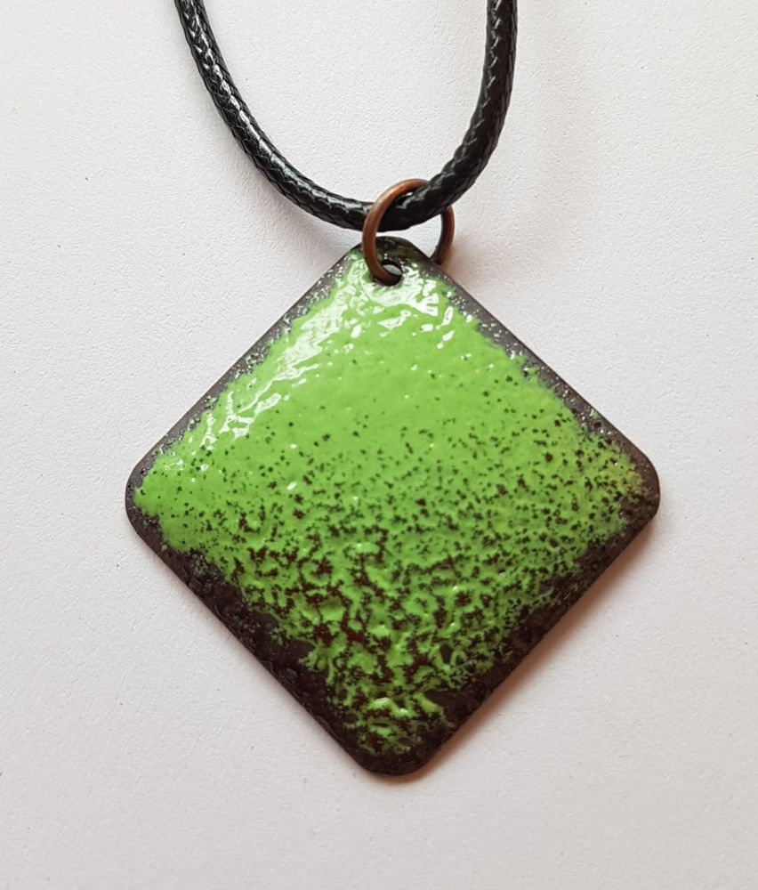 Lime green with deep maroon red speckle necklace