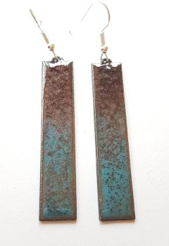 Teal blue blending into mauve and plum long earrings