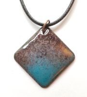 Teal blue blending into mauve and plum necklace