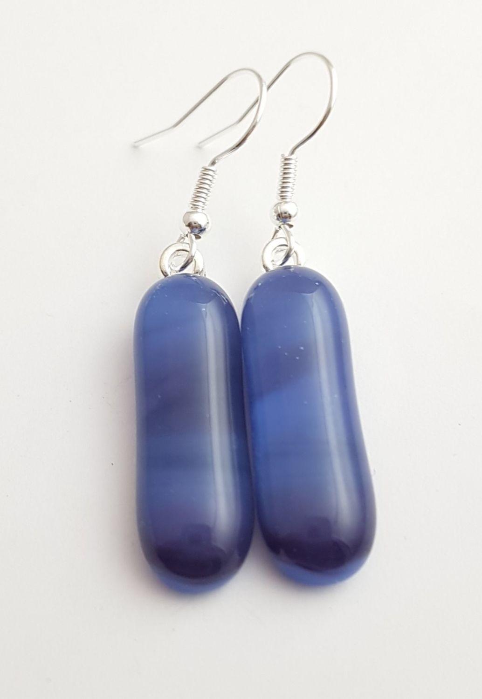 Swirly purple and blue long drop earrings