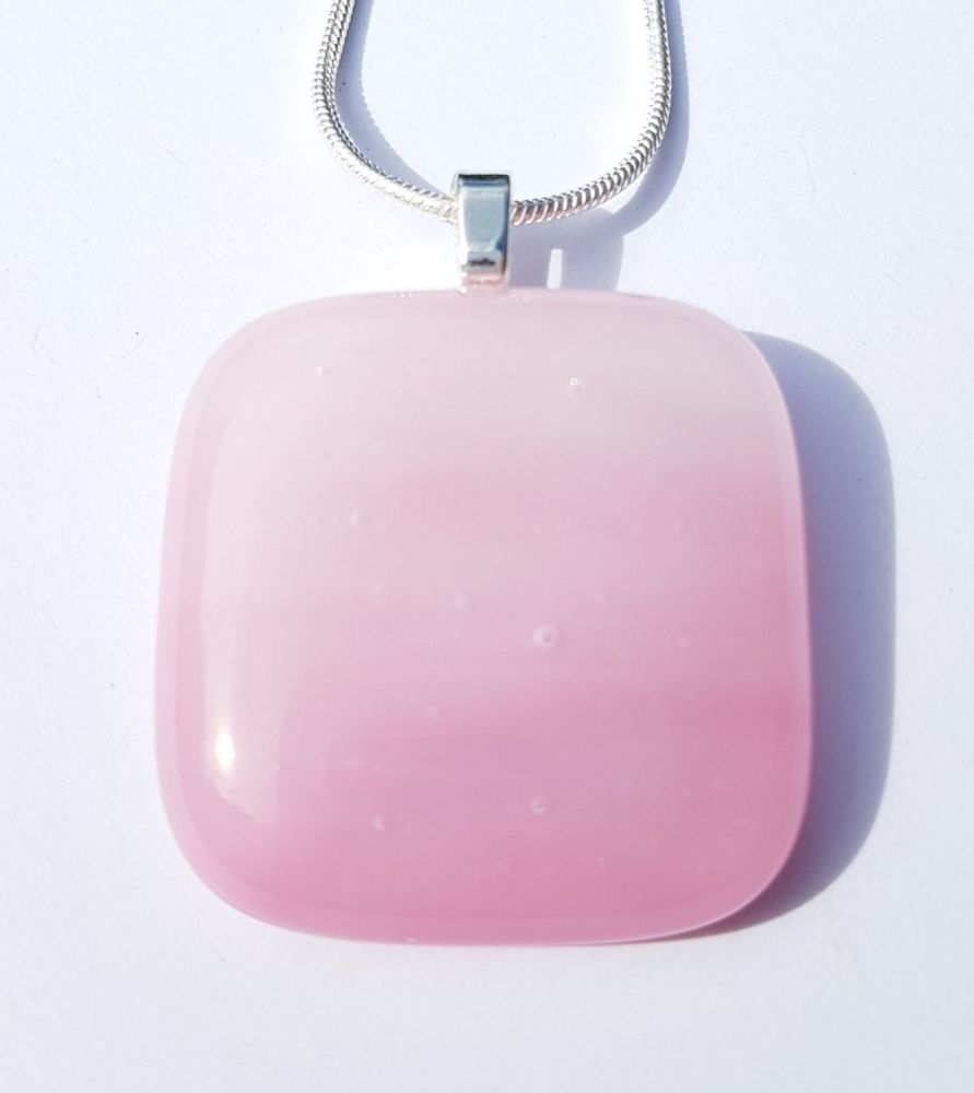 Candy floss pink square pendant