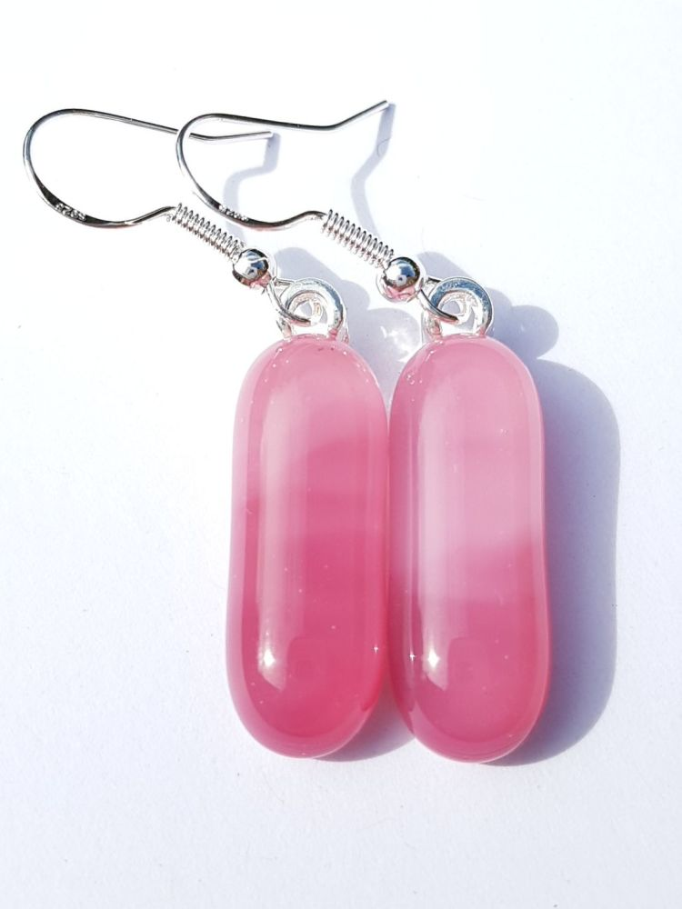 Swirly raspberry ripple medium drop earrings