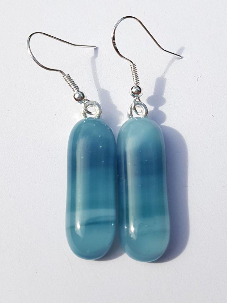 Swirly marine blues long drop earrings