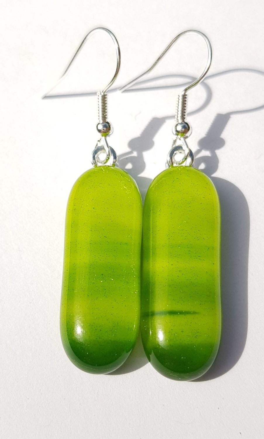 Swirly pistachio & lime glass long drop earrings