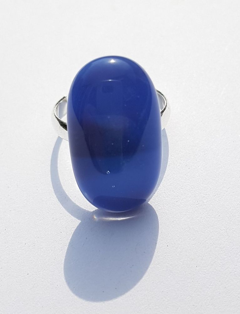 Purple and blue swirly large glass ring