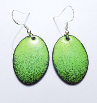 Lime green with deep maroon red speckles earrings
