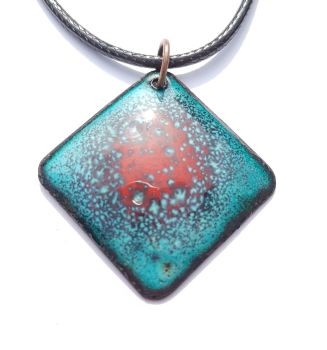 Teal blue with bright poppy red speckle necklace