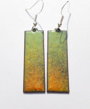 Spring green speckles into orange earrings