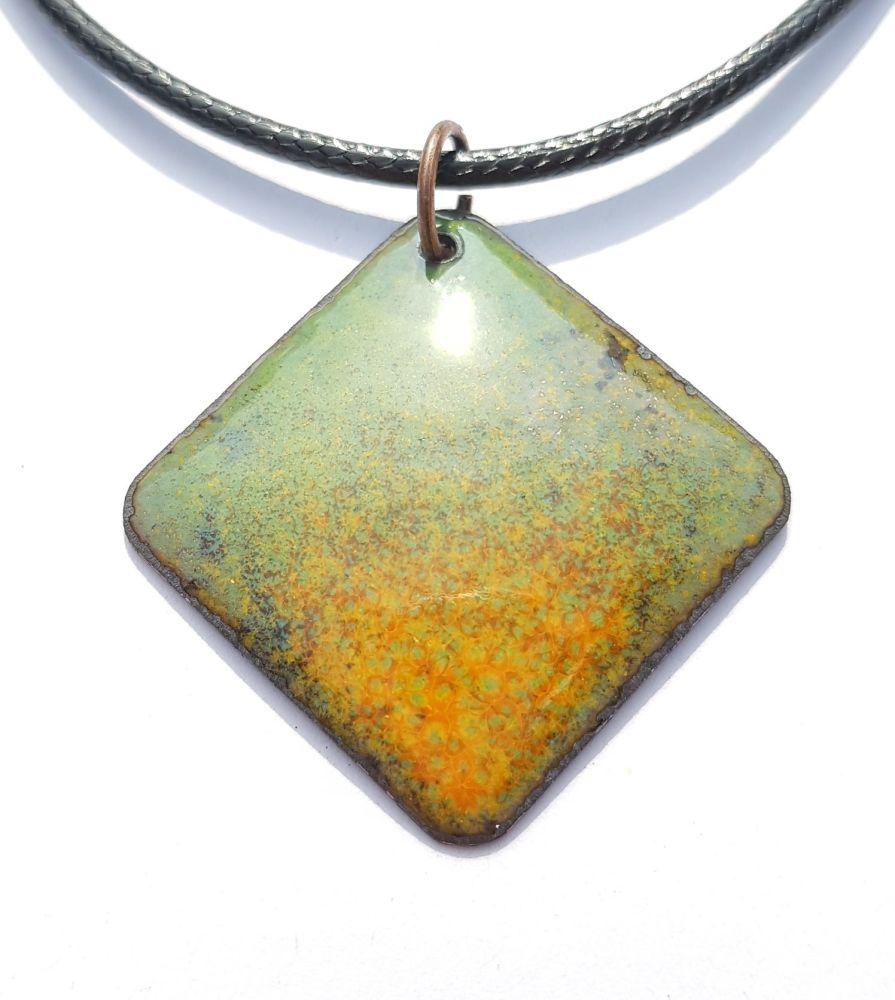 Spring green speckles into orange necklace