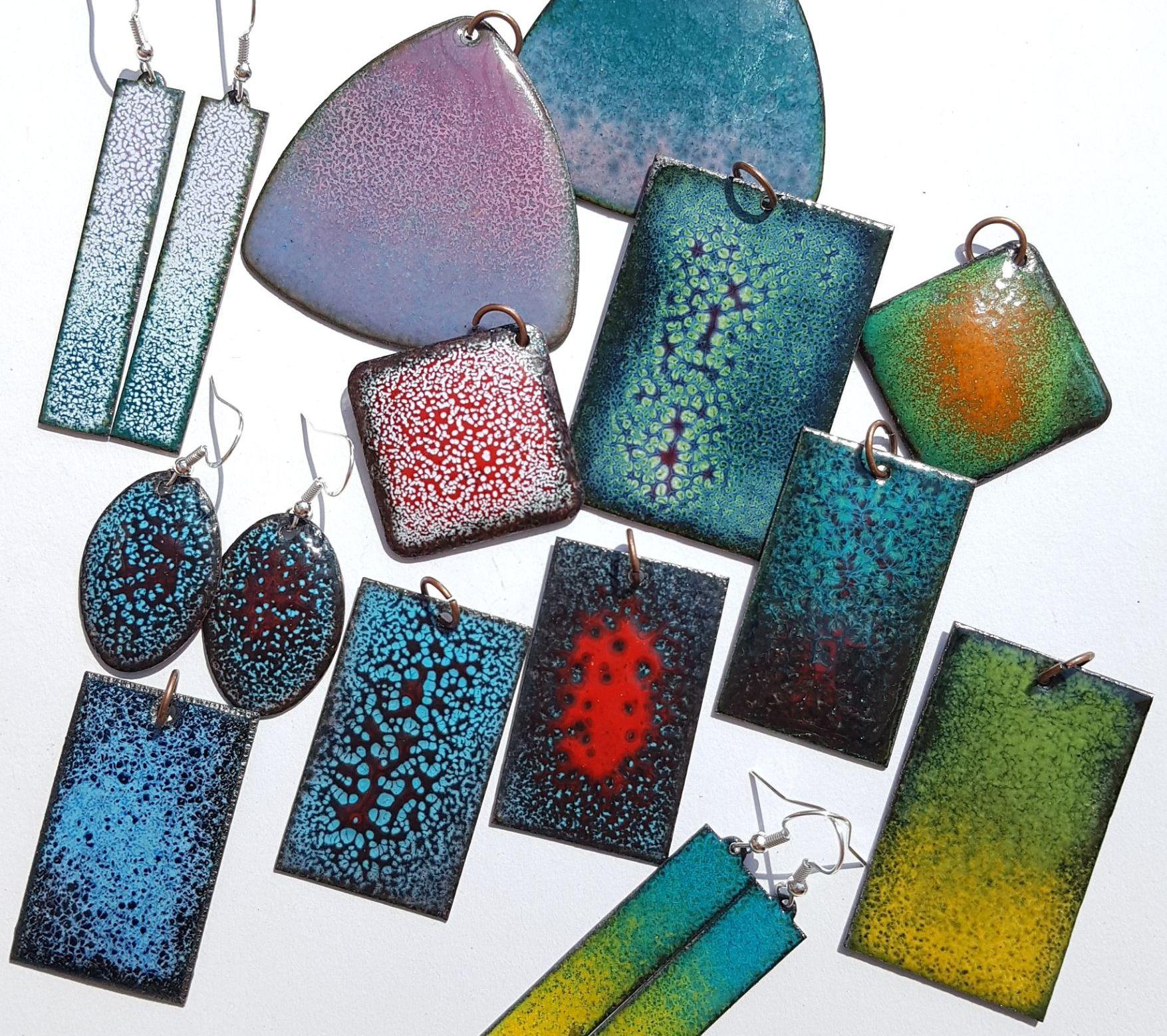 Boho colourful enamelled copper jewellery
