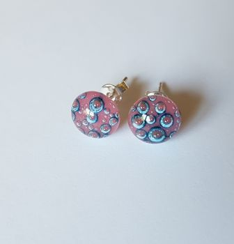 Bubbles - Opaque pink with blue bubbles stud earrings