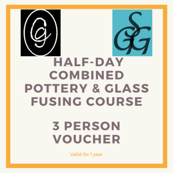 Combined Pottery & Glass Fusing  Half-day Course for 3 people