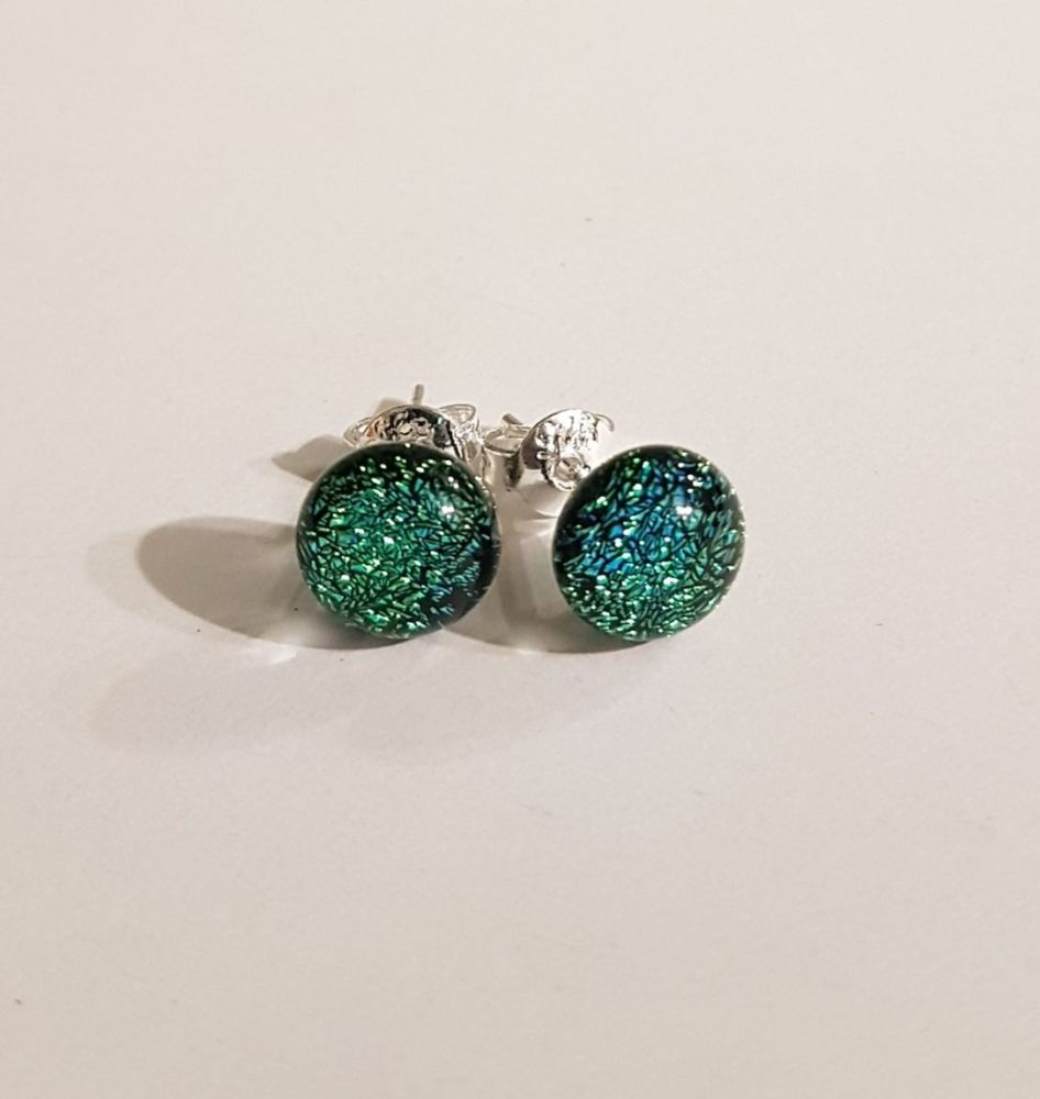 Dichroic - green-gold sparkly stud earrings