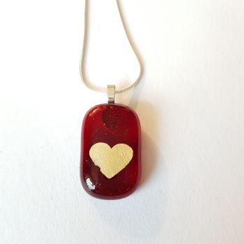 Transparent red with gold mica heart