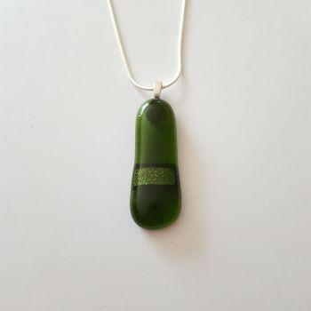 Pine green glass with sparkly Aventurine green stripe pendant