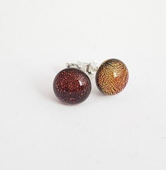 Dichroic - autumn colours sparkly stud earrings