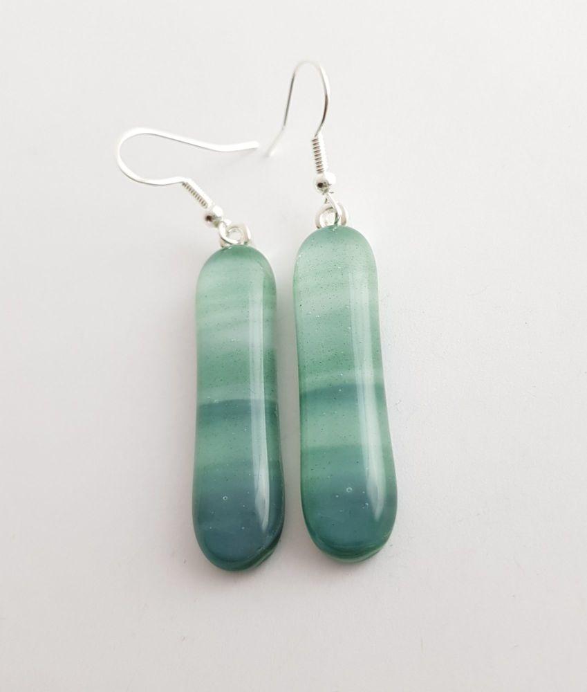 Swirly greens long drop earrings