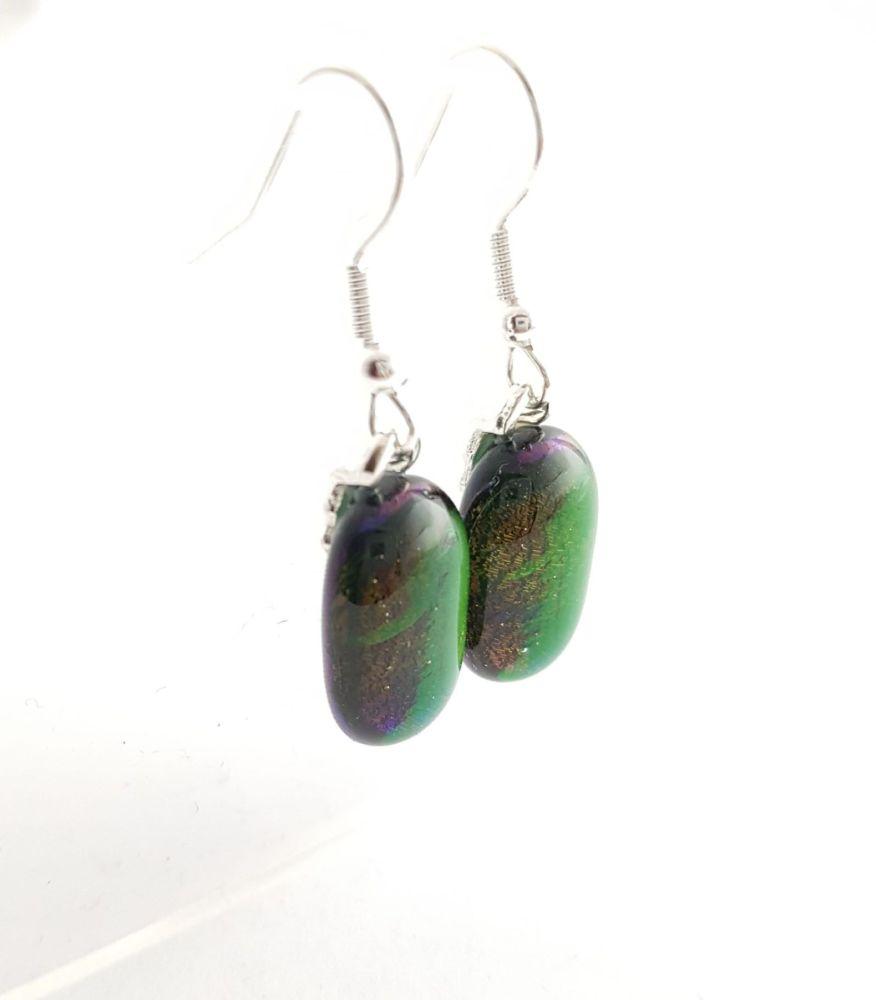 Shimmering iridescent peacock green-blue earrings