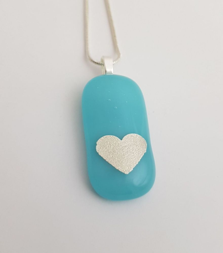 Turquoise Valentine silver mica heart