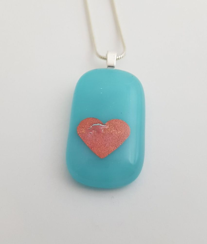 Turquoise Valentine with plum mica heart