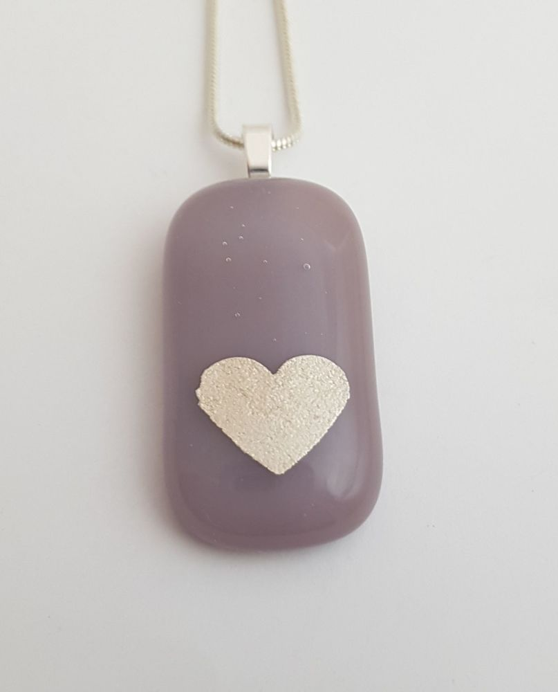 Dusky lilac Valentine with silver mica heart