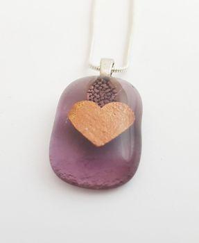 Pale purple pendant with copper mica heart