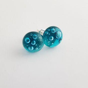 Bubbles - Peacock blue bubbles stud earrings