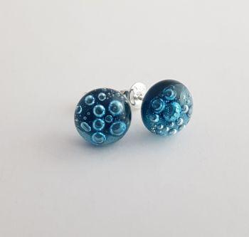 Bubbles - Aquamarine blue bubbles stud earrings
