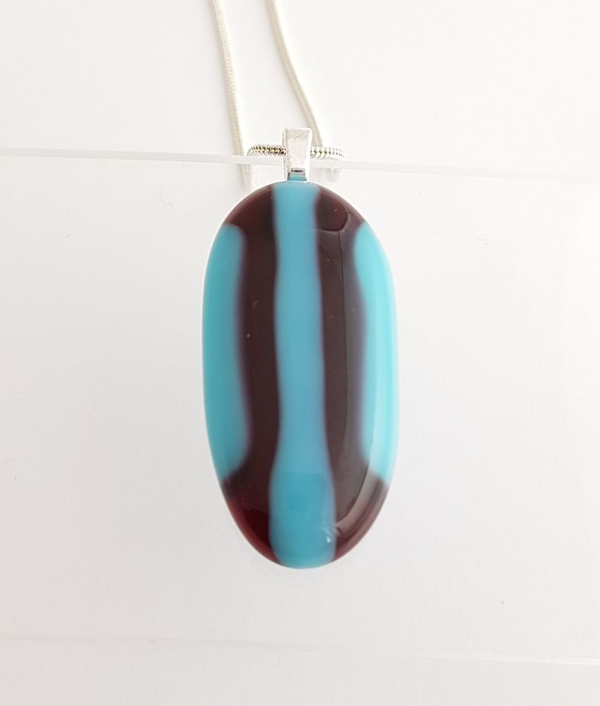 Turquoise and cranberry pebble pendant