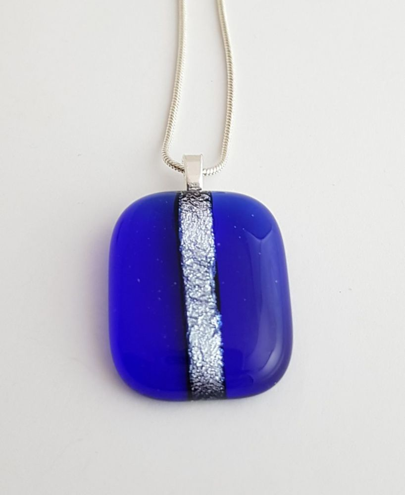Dichroic stripe - cobalt blue with silver sparkly stripe