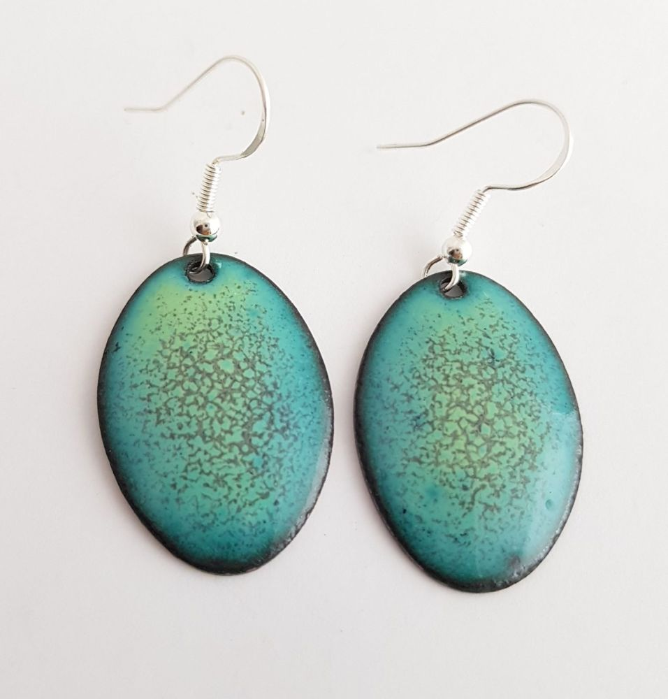 Teal with plum dappled earrings