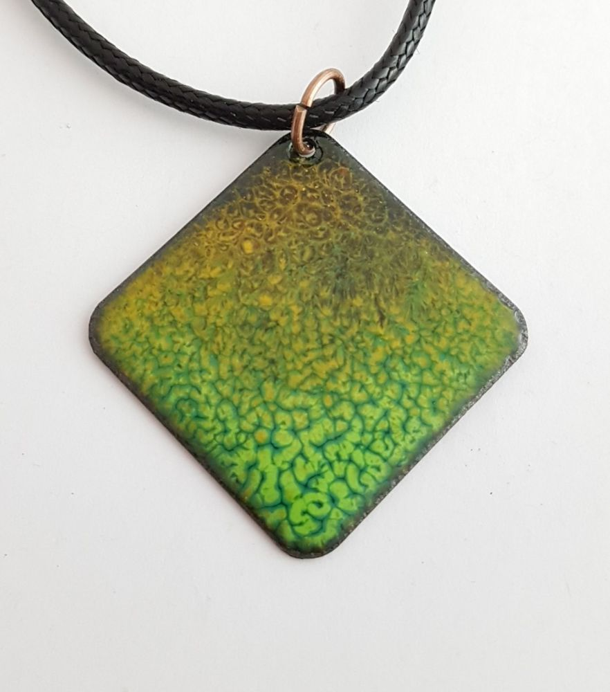 Teal blue pattern with burnt orange speckle necklace