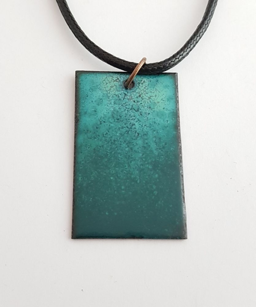 Teal and turquoise blue with maroon speckles necklace