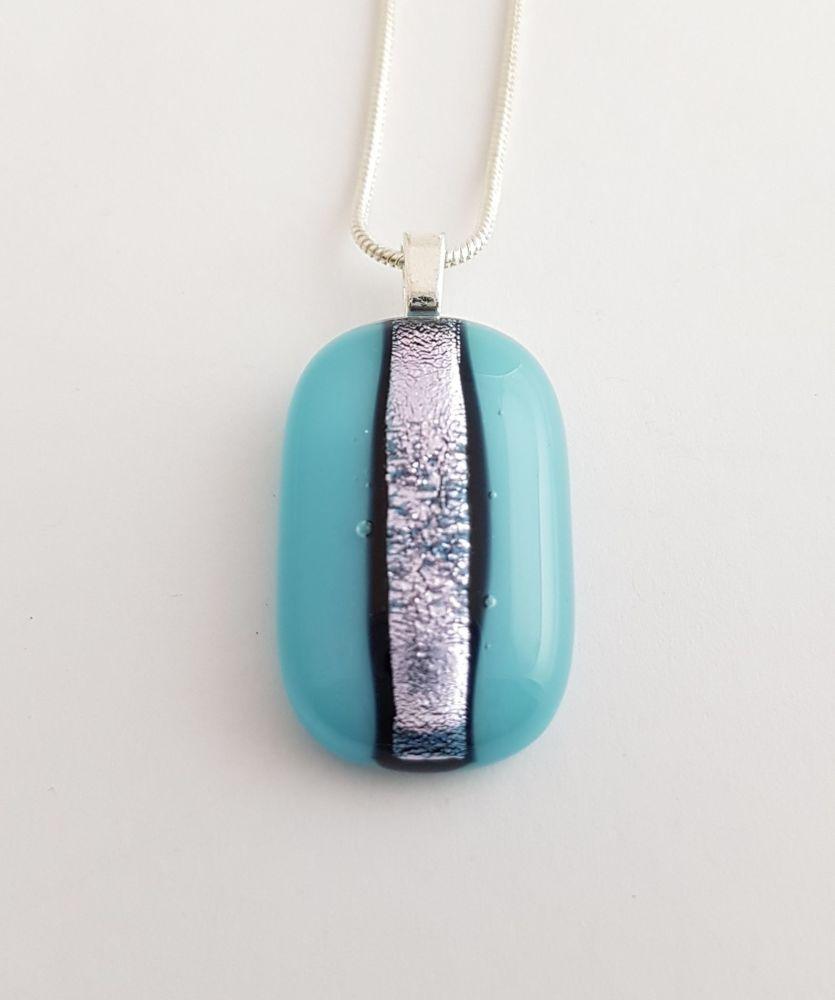 Dichroic stripe - medium turquoise with silver sparkly stripe