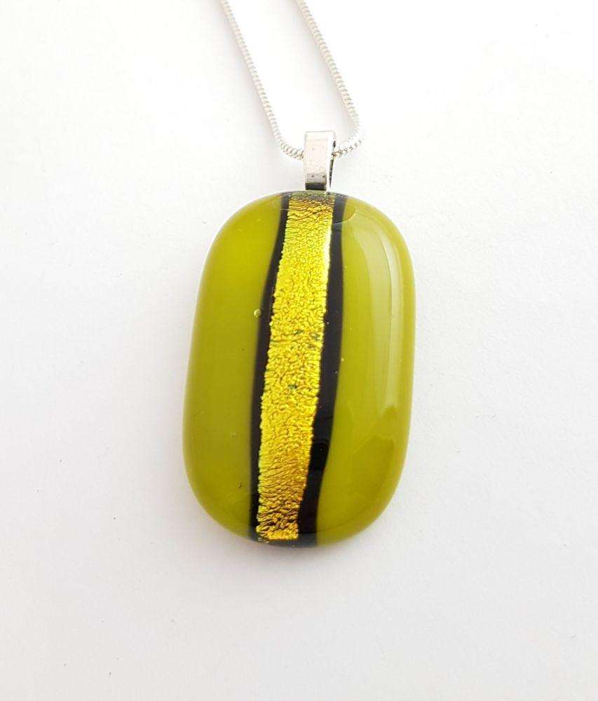 Dichroic stripe - medium avocado green with gold sparkly stripe