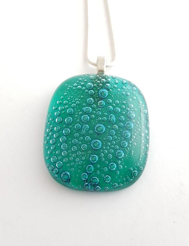 Bubbles - Emerald green bubbles square pendant